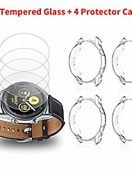 cheap -4 pack compatible with samsung galaxy watch 3 (45mm) screen protector case cover bumper shell & 4 pack replacement for samsung galaxy watch 3 (45mm) screen protector tempered glass film