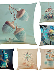 cheap -Cushion Cover 6PC Linen Soft Decorative Square Throw Pillow Cover Cushion Case Pillowcase for Sofa Bedroom 45 x 45 cm (18 x 18 Inch) Superior Quality Mashine Washable