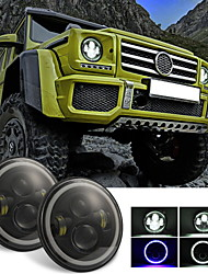 cheap -1Pcs 7Inch Round Black Cree LED Headlight High Low Beam 300W 30000LM 2 LED Light Bulbs Compatible with Jeep Wrangler