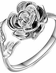 cheap -retro vintage stainless steel flower and leaf promise statement anniversary ring (silver, 13)