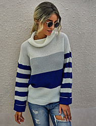 cheap -Women's Stylish Knitted Color Block Pullover Acrylic Fibers Long Sleeve Loose Sweater Cardigans Turtleneck Fall White Black Blue