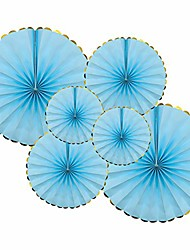 cheap -hanging paper fans set, blue round pattern paper garlands decoration for home decor party wedding baby shower birthday festival events accessories, set of 6