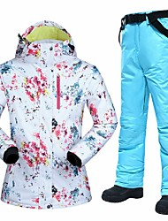 cheap -MUTUSNOW Women's Ski Jacket with Pants Skiing Hiking Snowboarding Waterproof Windproof Warm Polyester Clothing Suit Ski Wear / Winter
