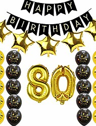 cheap -80th birthday party decorations - happy birthday banner,80th gold number balloons,gold star balloons for 80th birthday wedding party supplies