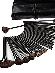 cheap -professional cosmetic makeup brush set kit with synthetic leather case,black