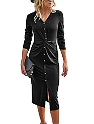 cheap -women's dress buttons floral flowy split maxi summer beach long dresses green l