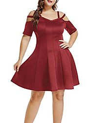 cheap -women strappy cold shoulder short sleeve plus size casual fit flare dress wine xxl