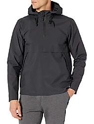 cheap -amazon brand - men's windbreaker anorak jacket, black melange, small
