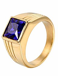cheap -men's stainless steel with square royal blue stone ring gold size 9
