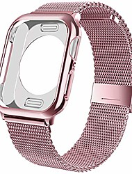 cheap -Bands with case compatible for apple watch 44mm 42mm 40mm 38mm  adjustable bracelet magnetic stainless steel mesh strap sport loop compatible for iwatch series 6/5/4/SE/ 3 /2/1