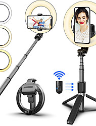 cheap -L07 Wireless Bluetooth Selfie Stick Foldable Handheld Remote Shutter Tripod With 6inch LED Ring Photography Light For Android IOS