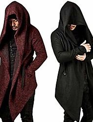 cheap -mens long sleeve irregular hem cardigan coat trench cardigan hooded cloak cape long sleeve knitted coat (wine red , m)
