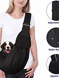 cheap -dog padded papoose sling, small pet sling carrier hands free carry adjustable shoulder strap reversible outdoor tote bag with a pocket safety belt dog cat carrying traveling subway (red)