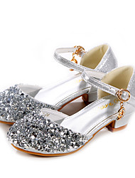 cheap -Girls' Heels Moccasin Flower Girl Shoes Princess Shoes Patent Leather PU Little Kids(4-7ys) Big Kids(7years +) Daily Party & Evening Walking Shoes Rhinestone Sparkling Glitter Buckle Silver Fall
