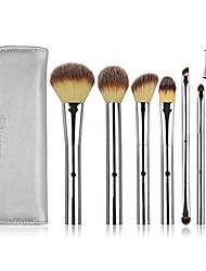 cheap -(tm) 7 piece makeup brushes set professional premium synthetic hair eye makeup brushes with powder blusher foundation angled eyeshadow cosmetic brushes -silver