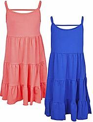 cheap -girl casual dress bohemian spaghetti strap sundress camisole ruffle sleeveless summer tiered dress kid beach dress
