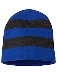 cheap -sp01 men's rugby striped knit beanie royal/charcoal one size