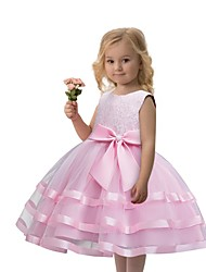cheap -Princess Dress Party Costume Flower Girl Dress Girls' Movie Cosplay Princess Red / Dusty Rose / Blue Dress Children's Day Masquerade Polyester