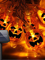 cheap -Halloween Pumpkin Lights 30-100 LED Halloween String Lights Solar Power Operated 8 Modes IP65 Waterproof 3D Jack-O-Lantern Lights  for Halloween Decorations Outdoor Indoor Party