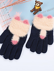 cheap -2pcs Kids Unisex Active Solid Colored Full Finger Knitwear Gloves Purple / Blushing Pink / Dusty Rose One-Size