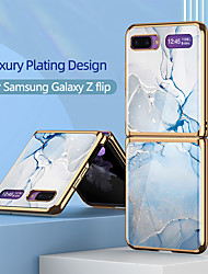 cheap -Case For Samsung Galaxy Galaxy Z Flip Shockproof / Plating / Ultra-thin Back Cover Color Gradient / Scenery / Marble TPU / Tempered Glass
