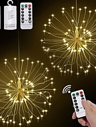 cheap -LED Starburst String Lights Outdoor Waterproof 120 LEDs DIY Hanging Firework Copper Fairy Garland Lights Festival Party Holiday Twinkle Light 2pcs 1pc