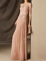 cheap -A-Line Elegant Sexy Engagement Formal Evening Dress V Neck Half Sleeve Floor Length Chiffon with Pleats Appliques 2021