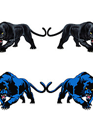 cheap -3D Animal Car Sticker Black Panther Roaring Colorful Funny Car Styling auto Accessories