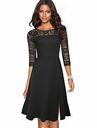 cheap -Women's Sheath Dress Knee Length Dress 3/4 Length Sleeve Solid Color Lace Patchwork Fall Elegant Cotton 2021 Black Red S M L XL XXL