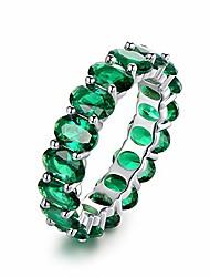 cheap -18k rhodium plated eternity oval cut/emerald cut created-gemstone ring (emerald cut morganite, 8)