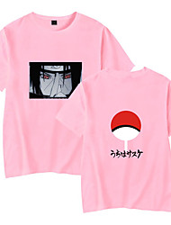 cheap -Inspired by Naruto Cosplay Akatsuki Uchiha Itachi T-shirt Polyester / Cotton Blend Print Printing T-shirt For Women's / Men's