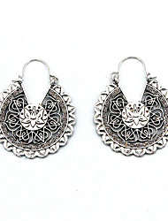 cheap -Women's Hoop Earrings Earrings Hollow Vintage European Fashion Earrings Jewelry Silver For Street 1 Pair