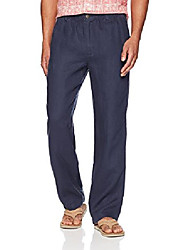 """cheap -amazon brand - men& #39;s relaxed-fit linen pant with drawstring, blue night, small/34"""" inseam"""