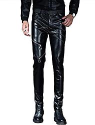 cheap -men`s black punk soft pu faux leather motorcycle biker pants with zippers black2 33