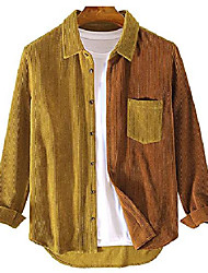cheap -mens corduroy patchwork shirts casual button up long sleeve jacket coat yellow