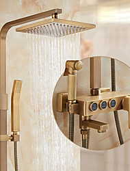 cheap -Antique Brass Shower System,Mount Outside Rainfall Waterfall Shower Head System Set Included  Brass Handshower with Hot and Cold Water