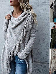 cheap -Women's Basic Knitted Tassel Solid Color Poncho Sweater Cotton Long Sleeve Sweater Cardigans Crew Neck Fall Winter Army Green Khaki Light gray