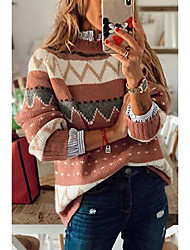 cheap -Women's Knitted Color Block Sweater Long Sleeve Sweater Cardigans Crew Neck Fall Winter Blushing Pink