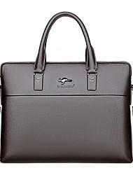 cheap -Men's Bags PU Leather Laptop Bag Briefcase Top Handle Bag Belt Zipper Handbags Office & Career Black Brown