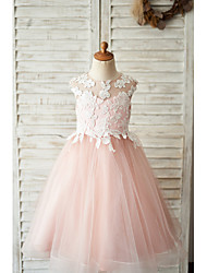 cheap -Ball Gown Knee Length Wedding / Birthday Flower Girl Dresses - Satin / Tulle Sleeveless Jewel Neck with Bow(s) / Appliques