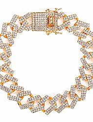 """cheap -unisex hip hop iced out cz diamond silver gold plated miami cuban link chains and bracelets 16"""" 18"""" 20"""" 24"""" 30"""" / 7"""" 8"""" 9"""" (9, cuban - gold)"""