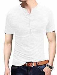 cheap -mens henleys shirts short sleeve o neck classic fit tops blouse buttons solid fall white s6 xl