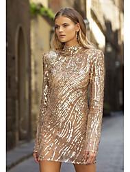 cheap -Women's Sheath Dress Short Mini Dress Long Sleeve Geometric Fall Elegant Casual 2021 Gold S M L XL XXL