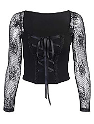 cheap -women's steampunk gothic lace up croset top criss cross lace long sleeve t-shirt