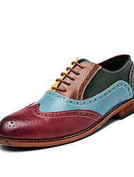 cheap -Men's Loafers & Slip-Ons Business Classic British Wedding Party & Evening Walking Shoes Faux Leather Non-slipping Wear Proof Rainbow Color Block Spring Fall / Hollow-out