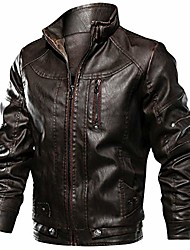 cheap -men's military style bomber leather jacket spring autumn outdoor windbreaker durable pu leather outwear jackets coffee