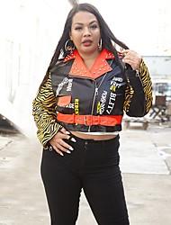 cheap -Women's Leopard Oversized Basic Fall & Winter Faux Leather Jacket Regular Daily Long Sleeve PU Coat Tops Black