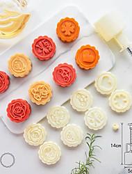 cheap -50 Gram Stereo Rose Flower Car Logo Cartoon Cake Mould Diy Baking Pastry Tools Kitchen Bakeware Hand Press Plastic Round Moon Cake Mold