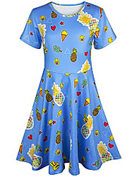 cheap -colorful paint dress for girl 3d printed casual clothes 6-7 years old