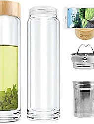 cheap -tea glass bottle double wall glass borosilicate with infuser bottle for green tea coffee fruit flower tea double mesh filter 400ml 14 oz (double wall glass with bamboo lid update)